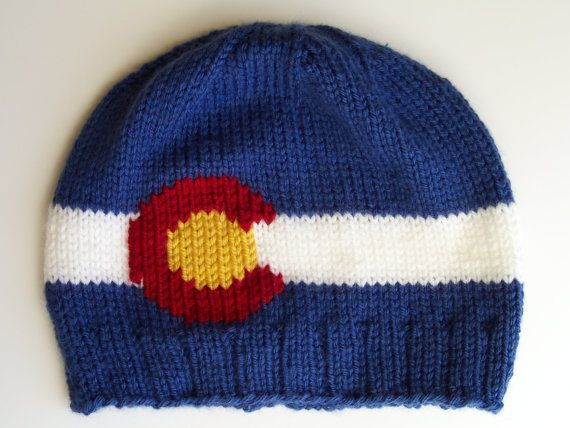 e15349556b9 Knit Colorado Flag Beanie with Ribbed Brim by ShortKnits on Etsy ...
