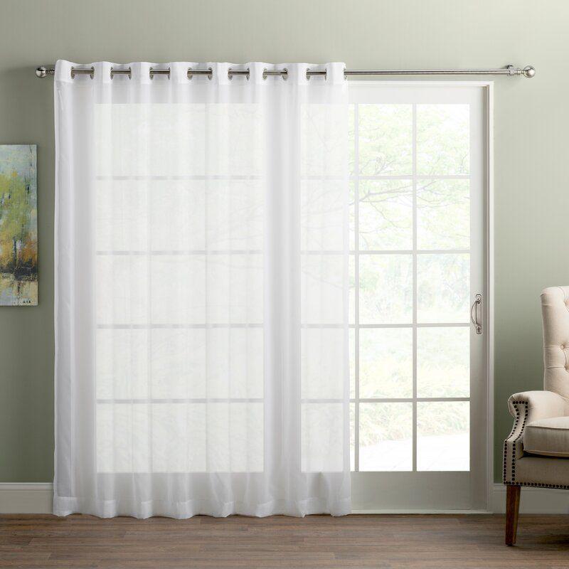 Wayfair Basics Solid Semi Sheer Grommet Single Curtain Panel In 2020 Glass Door Curtains Sliding Glass Door Curtains Panel Curtains