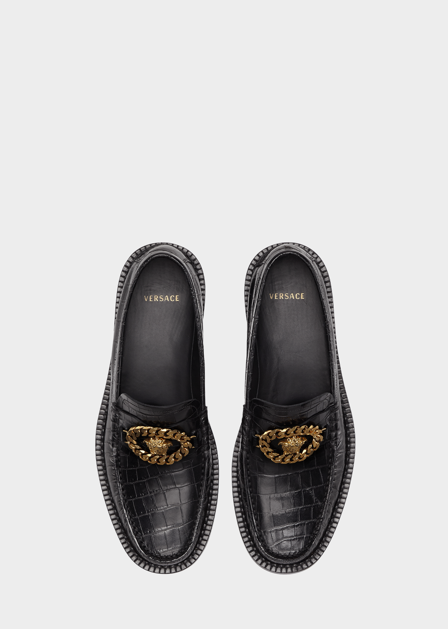 Mock Croc Medusa Chain Loafers for Men