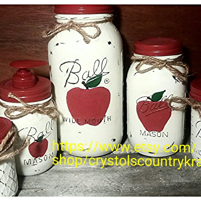 Apple Canisters, Apple Kitchen Set, Utensil Jar, Apple Soap Dispenser ,  Apple Sugar Jar. Red Apple Decor, Country Rustic Mason Jars