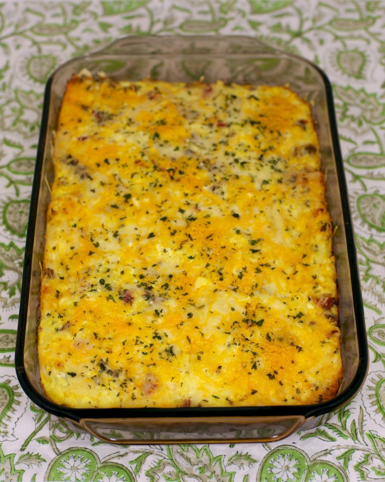 Elegant Cheesy Amish Breakfast Casserole   Bacon, Sausage, Hash Browns, Eggs,  Cheddar Cheese