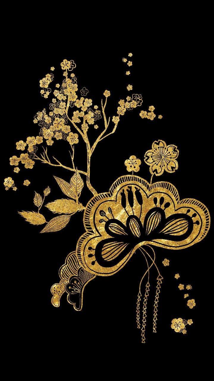 Gold Black Asian Flowers Wallpaper Asian Flowers Dark Wallpaper