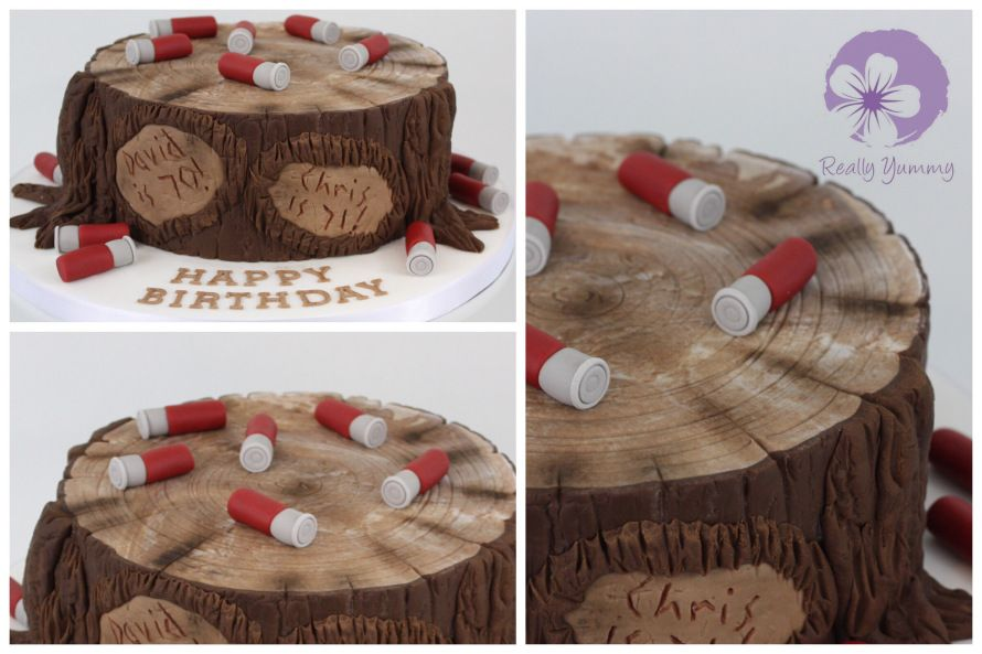 Shooting and tree stump cake