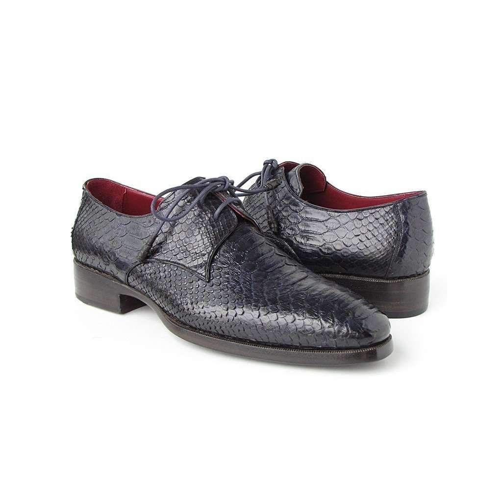 f21164070dc76 Paul Parkman Men's Navy Genuine Python Derby Shoes (ID#66CK94-NAVY ...