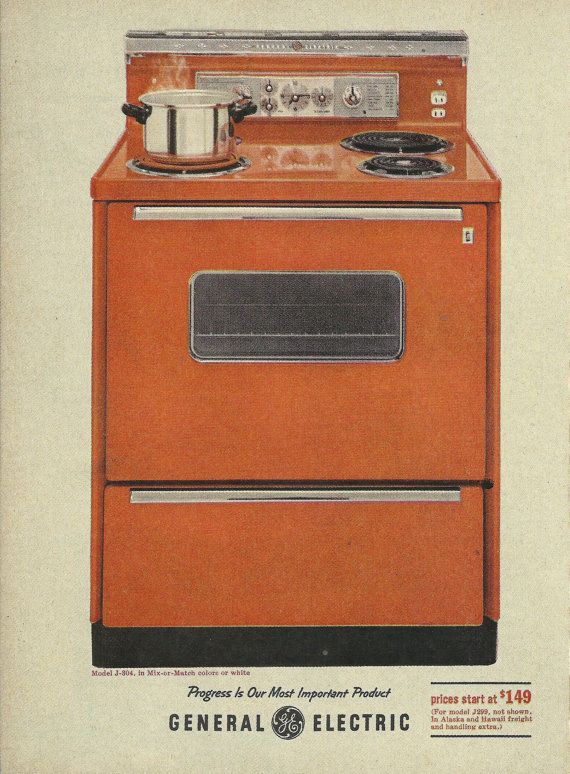 Electric Kitchen Stove general electric kitchen range original 1961 vintage print ad