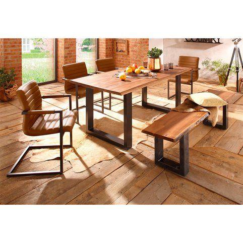 table salle manger en acacia massif et mtal 8 personnes long 180 cm queens de home affaire acacia vue 1