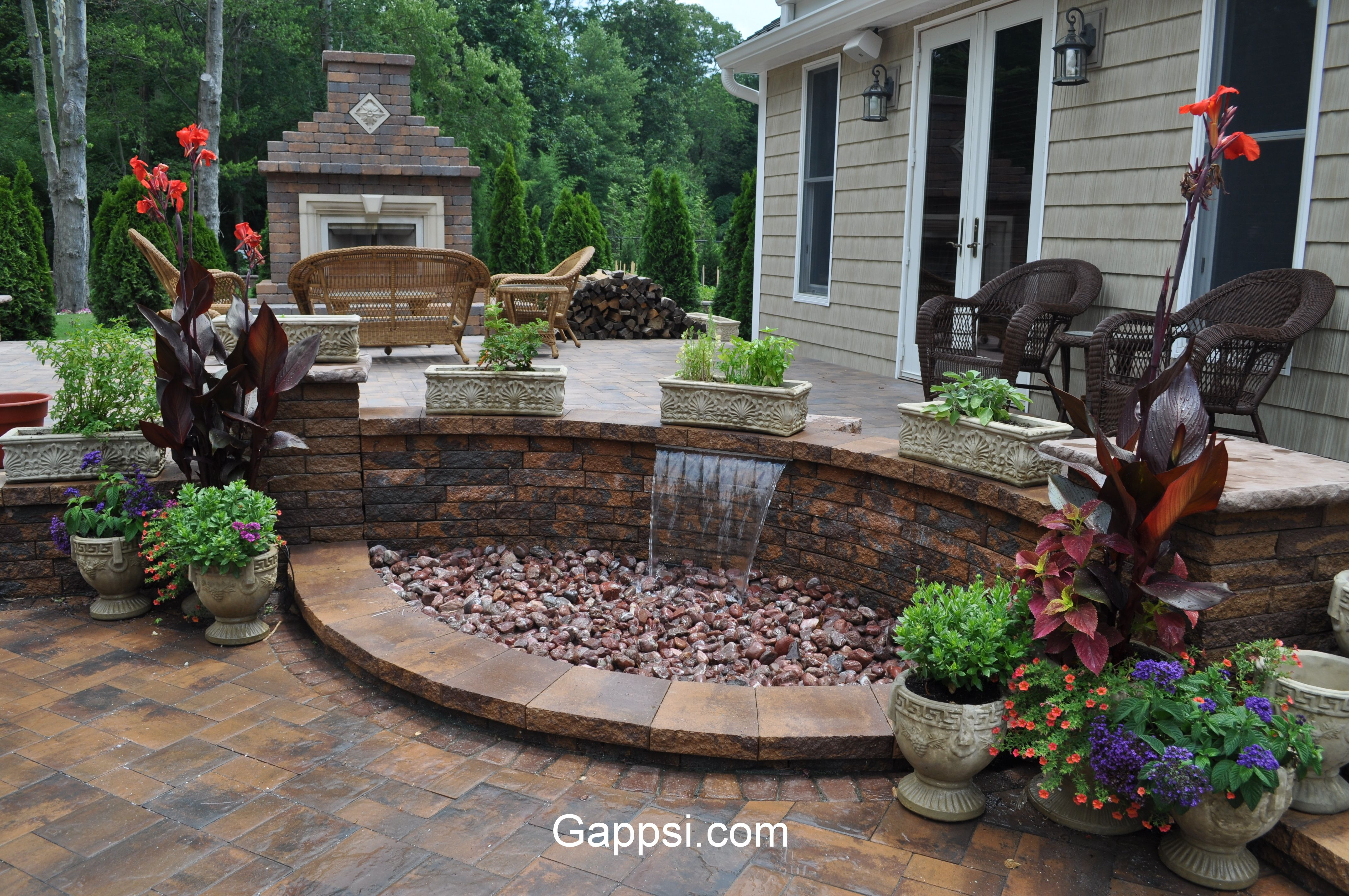 Attractive Patio And Waterfall Combo Made Of Oyster Blend Nicolock Paving Stones In  Mastic Beach, New