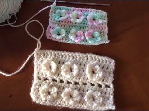 Flores sobre Punto Alto Crochet - YouTube