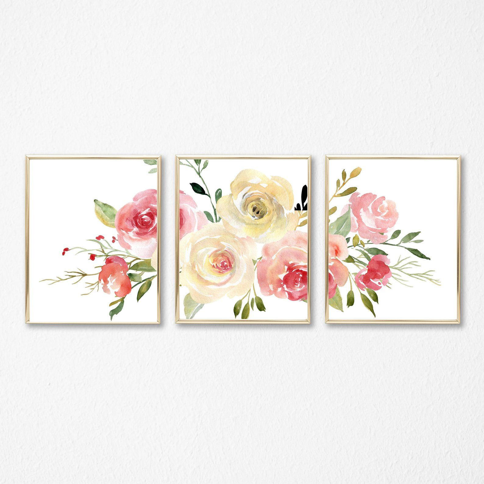 Floral Blush Set Of Three Wall Art Instant Download Printable Etsy Floral Wall Art Nursery Wall Art Framed Floral Prints
