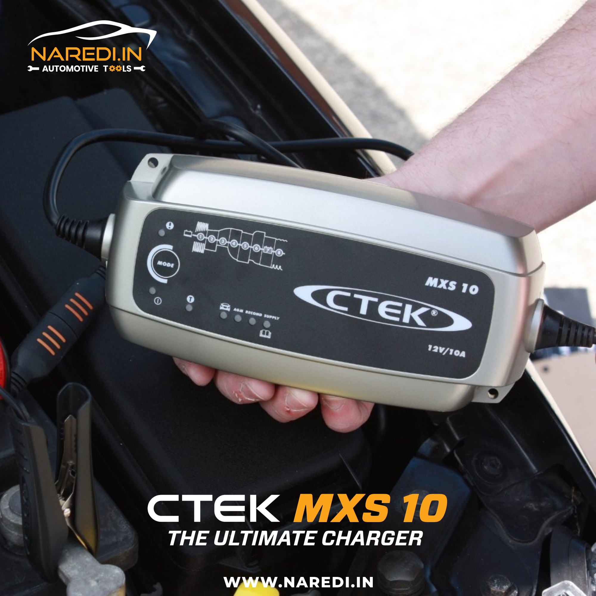 The Ctek Mxs 10 Is A Fully Automatic 8 Step Charger That Delivers 10a To 12v Batteries From 20 200ah And Is Also S Car Tools Car Battery Chargers 12v Batteries
