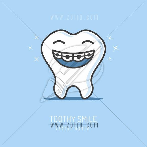 Toothy Smile Graphics Web Store Tooth Cartoon Dental Braces Teeth Braces