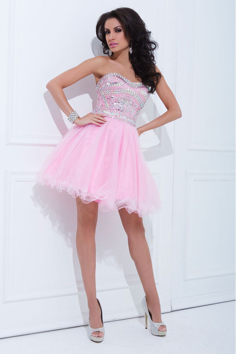 2014 Tulle Prom Dress Strapless A Line Short/Mini With Rhinestone ...