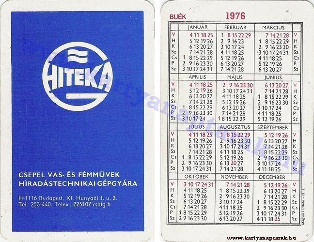 1976 - 1976_0221 - Régi magyar kártyanaptárak