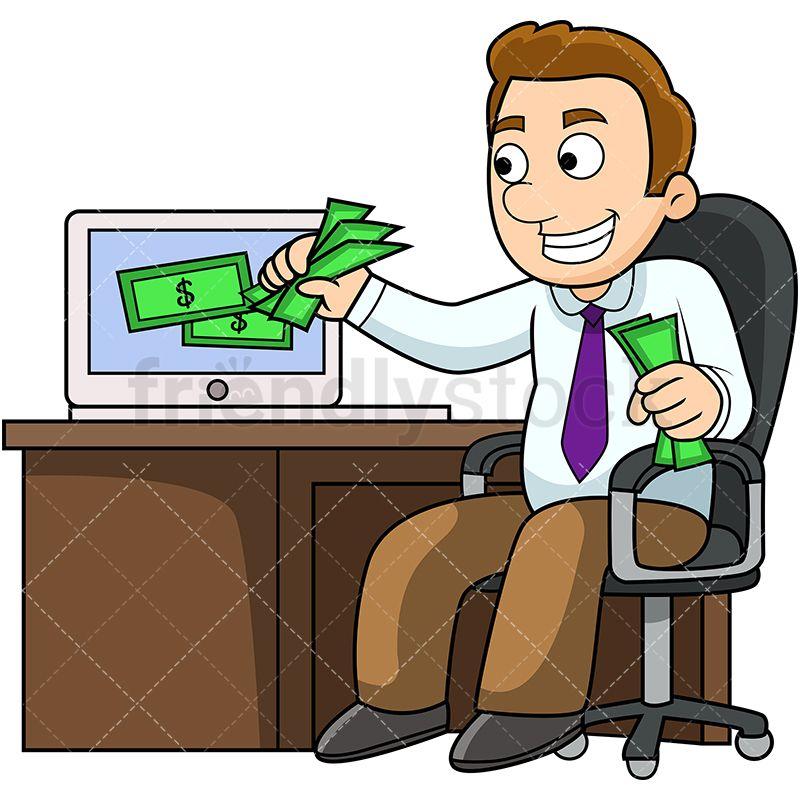 Man making money online cartoon vector clipart