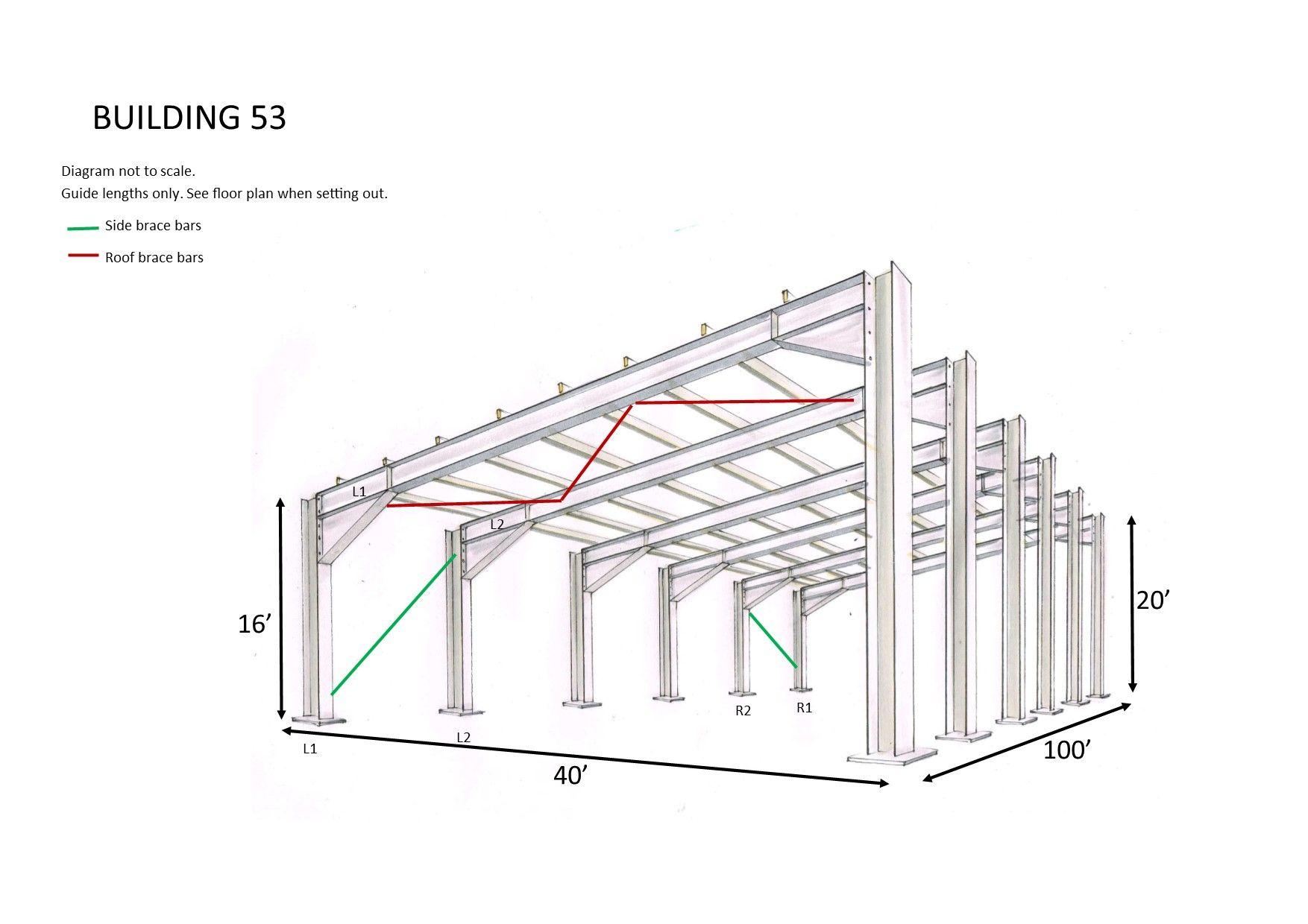 Steel Framed Building Mono Slope 100ft Long X40 Ft Wide X