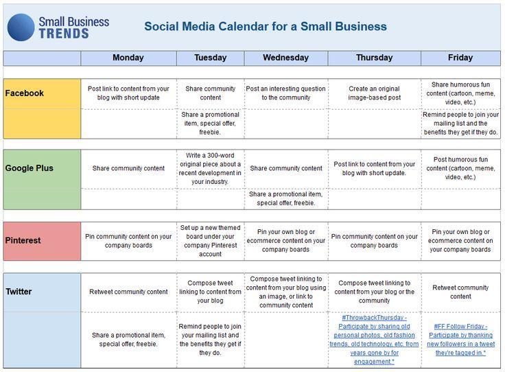 An Example An Editorial Calendar For A Social Media Social
