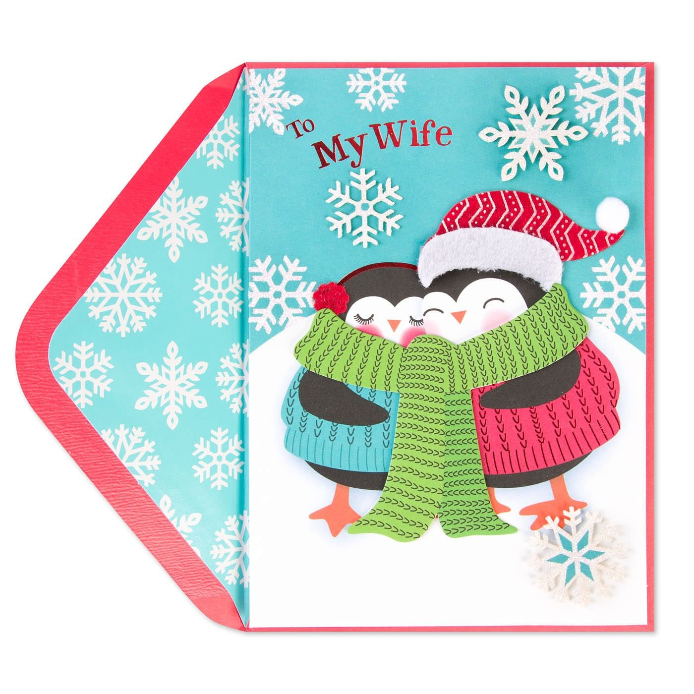 Snuggling Penguins Christmas Card (For Wife) | Papyrus Art Direction ...