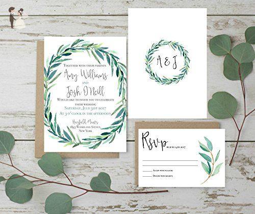 wedding invitations set rustic wedding invites eucalyptus wedding invitation set of 10 invitation - Wedding Invitation Set