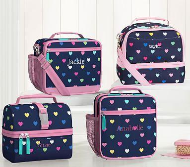 Mackenzie Navy Pink Multi Hearts Lunch Box Lunch Box