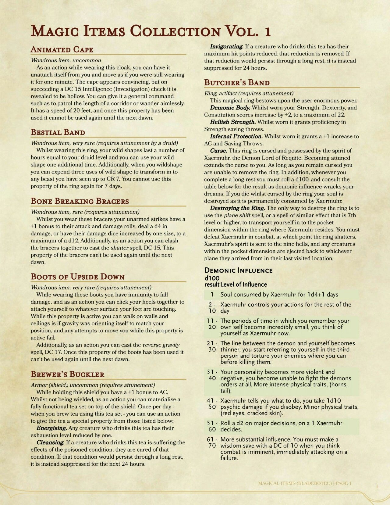 Magic Items Collection 1 | D&D 5e Miscellaneous  | Dnd 5e