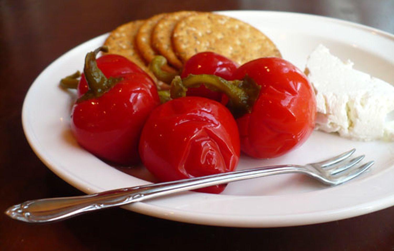 Recipe Quick Pickled Cherry Peppers Recipe Stuffed Peppers Pickled Cherries Hot Cherry Peppers