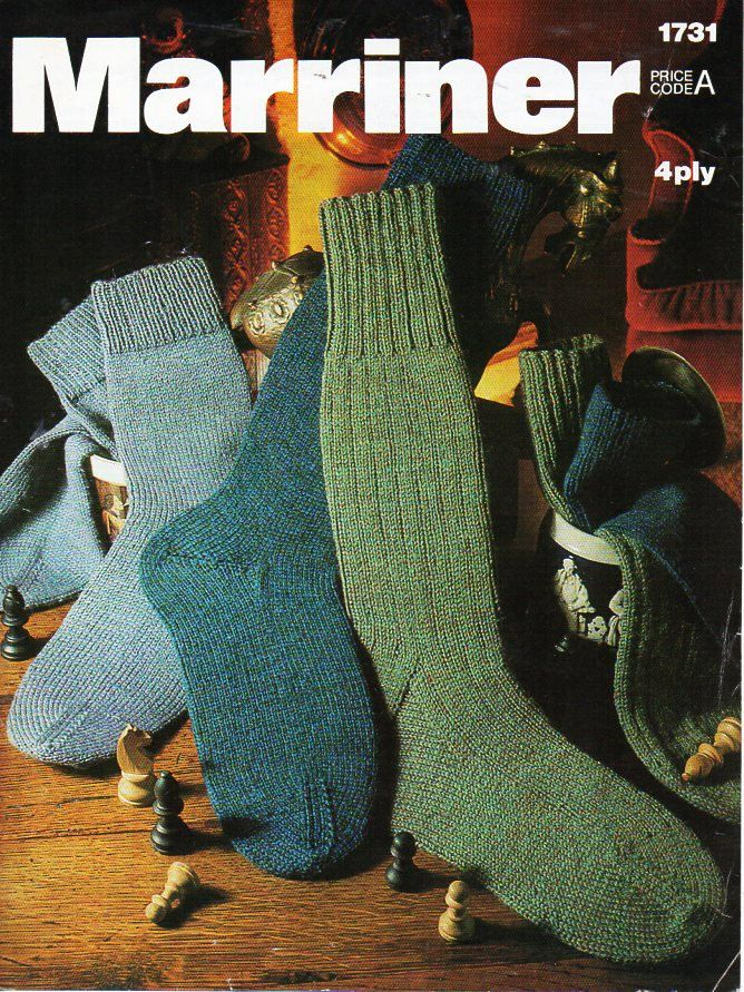 mens socks knitting pattern PDF gents 4ply socks vintage 70s Fits ...