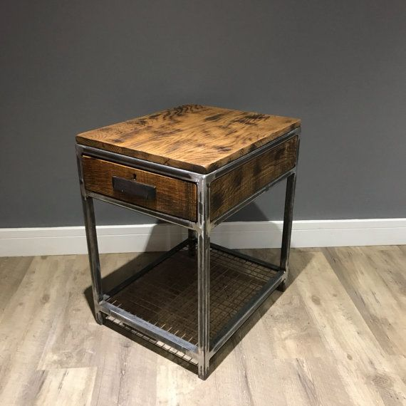 industrial bedside table wood and metal end table: rustic | kl
