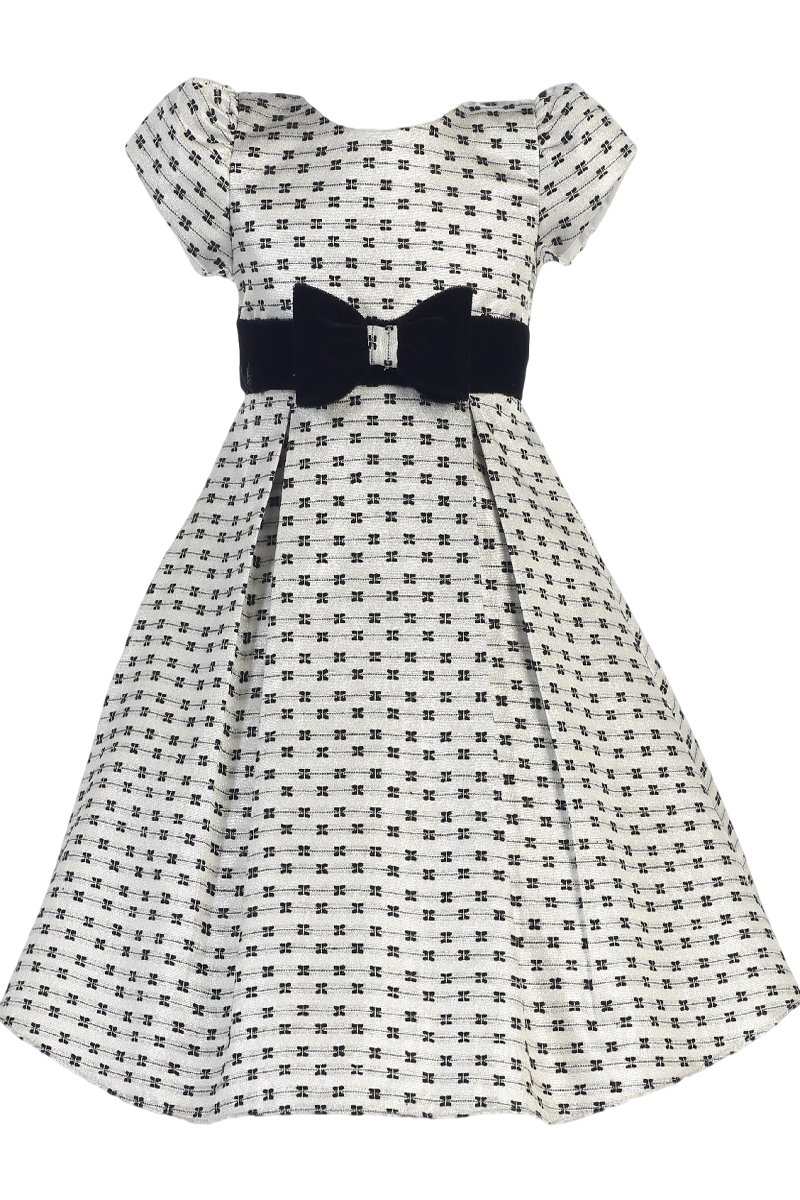6a0bb1e1c774 Silver Jacquard Bow Print Holiday Dress with Black Velvet Trim (Girls 6  months - Size 12)
