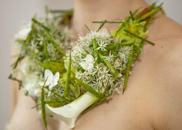 Green And White Floral Necklace By Annette Von Einem