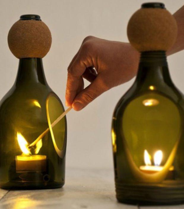 Das kannst du mit alten Glasflaschen machen! Der Leuchter ist atemberaubend!