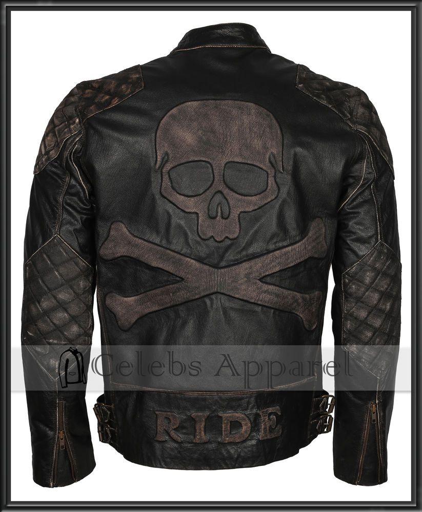 Men S Biker Distressed Black Speed Metal Skull Embossed Rider