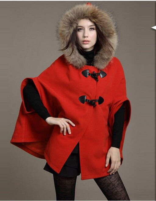 Fur Collar Autumn Winter Cloak Hooded Cape Woollen Coat 2014 New Women Jackets Trench Long Casacos Femininos Desigual Overcoat-in Wool & Blends from Apparel & Accessories on Aliexpress.com | Alibaba Group
