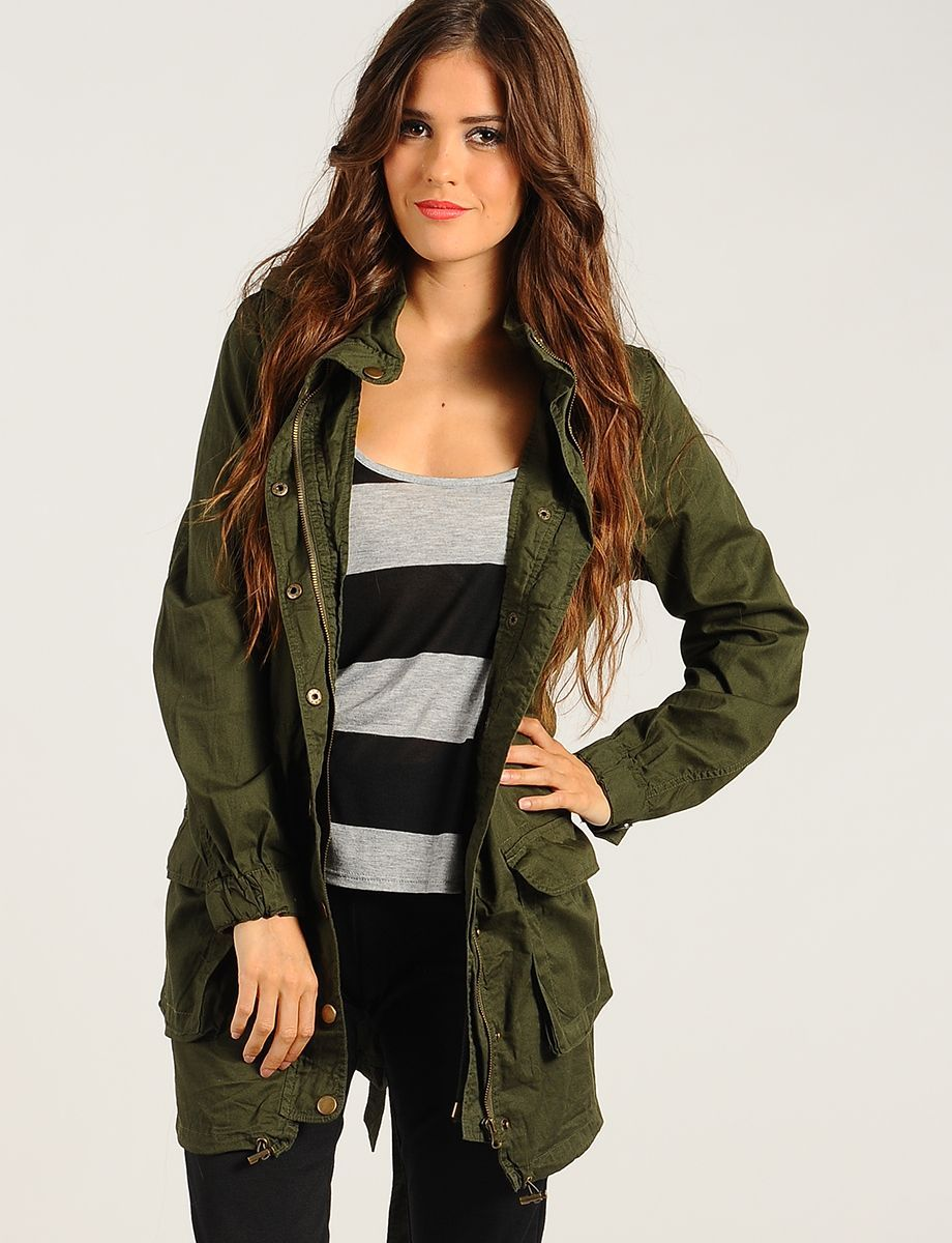 Military Green Off Duty Parka Jacket | $18.50 | Cheap Trendy ...