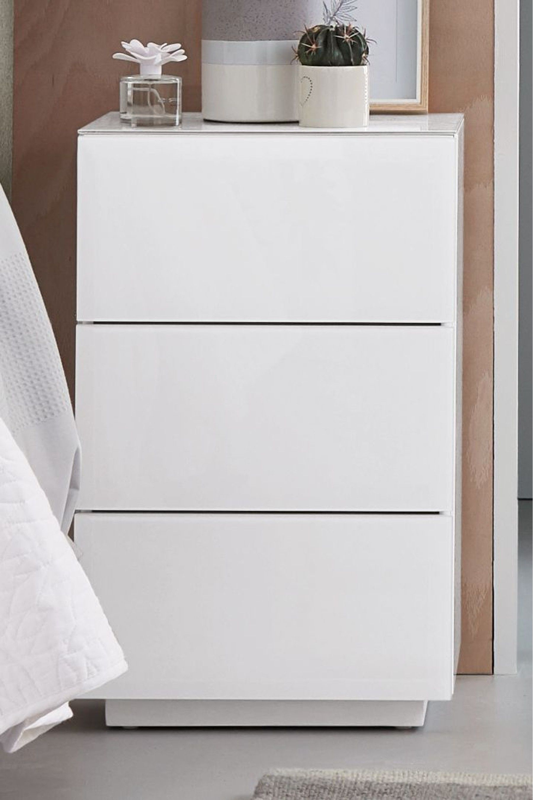 Next Sloane 3 Drawer Bedside Table White In 2020 White Bedside Table Fitted Bedroom Furniture Bedroom Collections Furniture