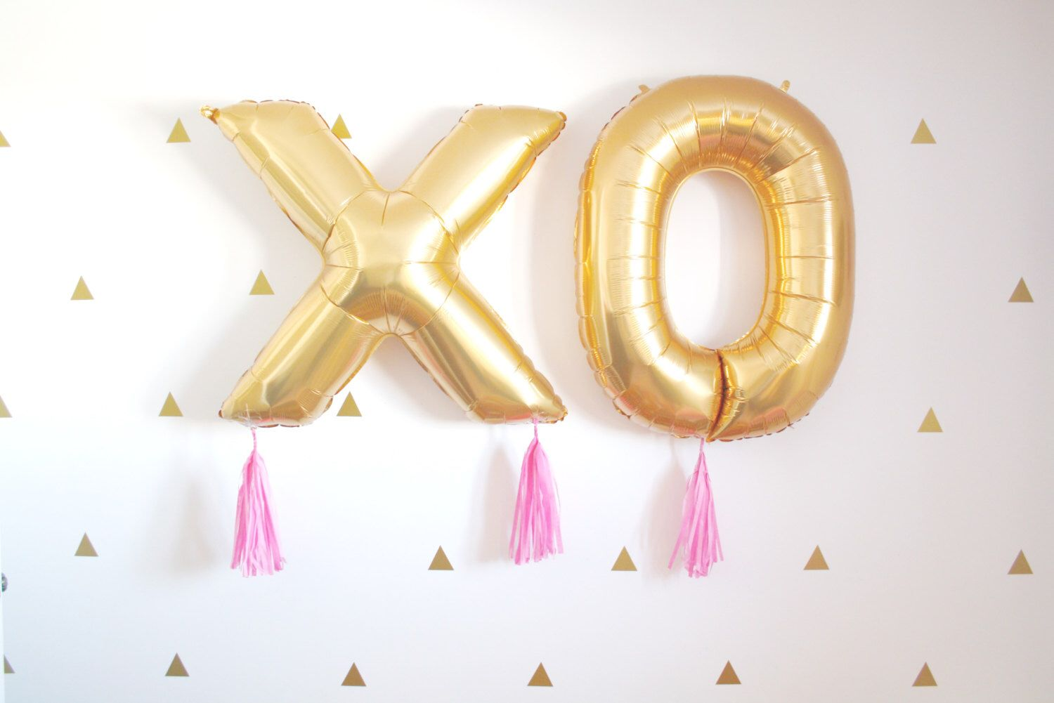 Wedding decorations gold and pink  XOXO Gold Valentines Day Tassel Balloons Love Wedding Decor Photo