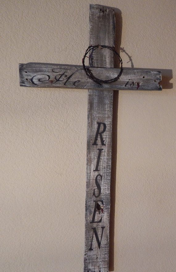 He Is RISENRustic Hand Painted Wood Cross With Crown Of Thorns Easter Decor Biblical Sign Rustic