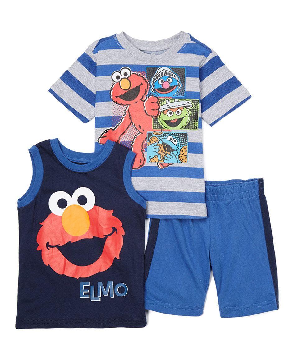 Elmo Toddler Little Boys Big Deal 2PC Set Shirt and Short 12 mo., Blue