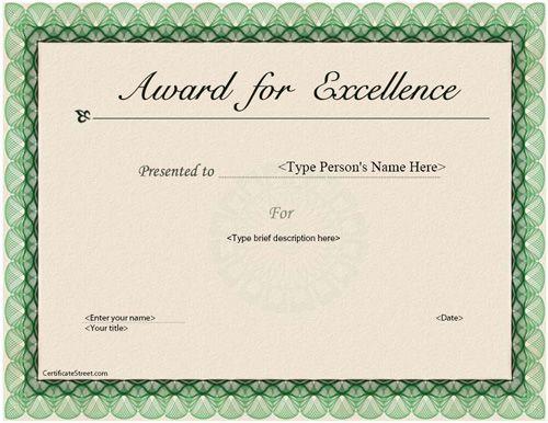 Business Certificate Elegant Award for Excellence – Certificate of Excellence Template Free