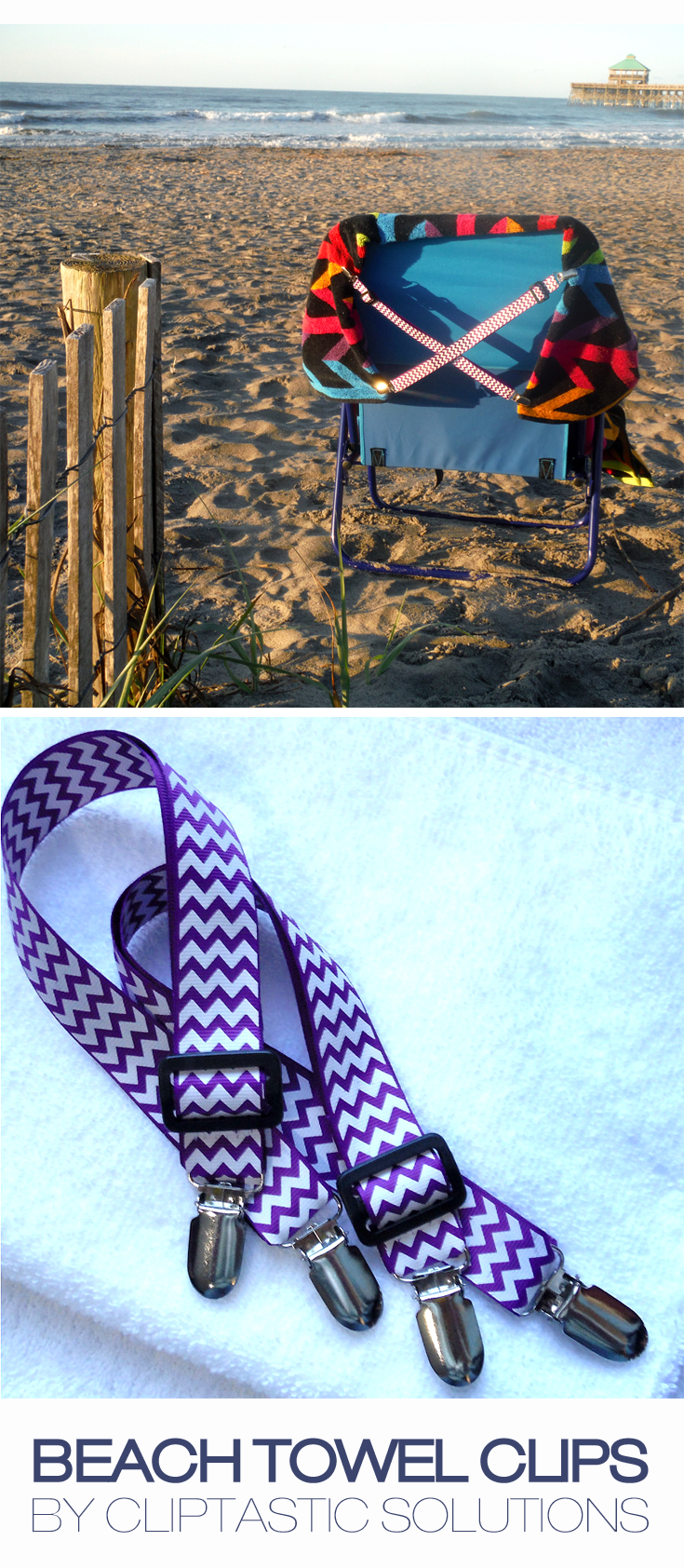 Purple Chevron Beach Towel Clips Easy To Use Easy To Pack Keep