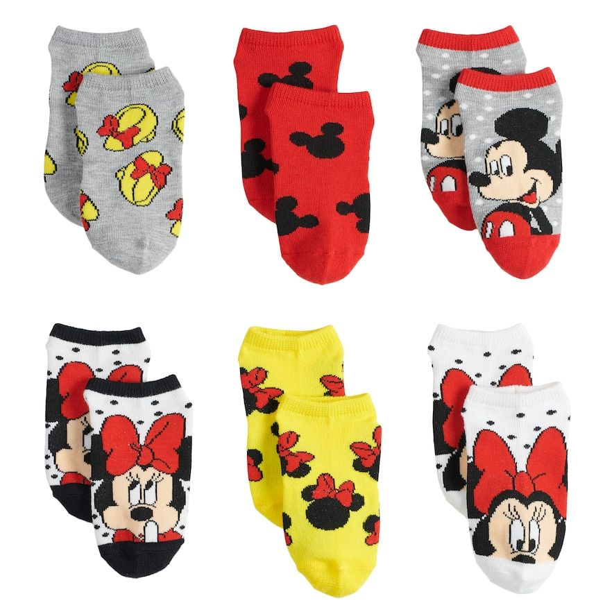 2 Pk Girls Disney Socks with Minnie Mouse Detail