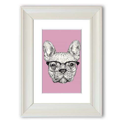East Urban Home Framed Graphic Print French Bulldog with Glasses   Framed graphic print French Bulldog with glasses East Urban Home size 40 cm x 30 cm frame type m