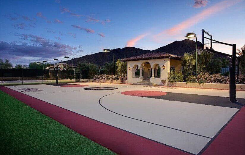35 Backyard Courts For Different Sports Tennis Basketball Volleyball Etc Basketball Court Backyard Outdoor Basketball Court Indoor Basketball Court