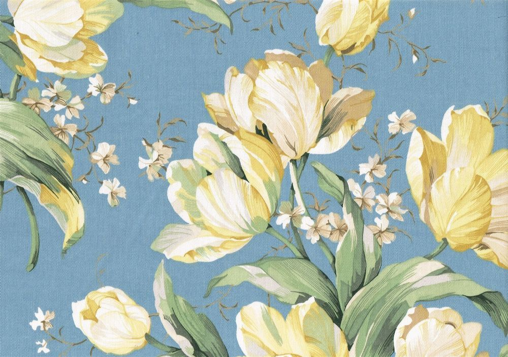 Waverly Fabric Garden Lane Blue Yellow Green Cotton Drapery Upholstery Waverly Fabric Green Cotton Fabric