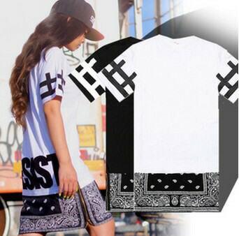 2015 New Hiphop Side Zipper Lengthen Bandana Shirt Men Women Short Sleeve Cheap Tee Shirts Womens Shorts Shirt Style
