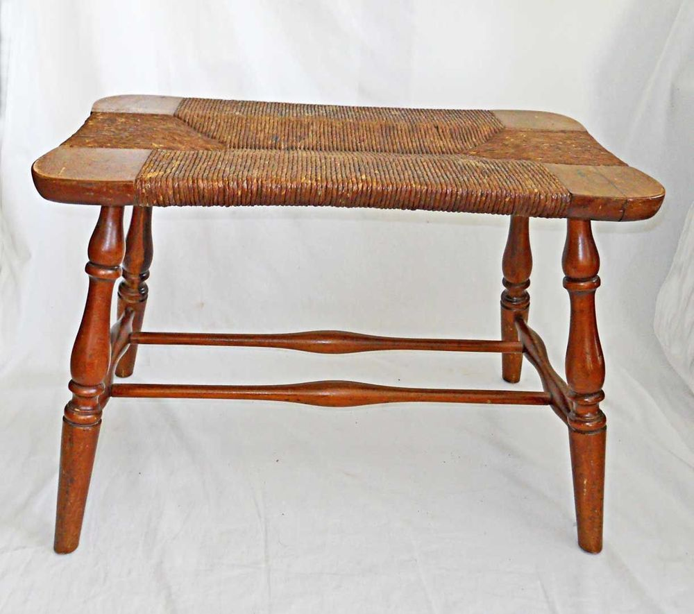 Outstanding Antique Vintage Stool Rush Seat Bench Country Colonial Ocoug Best Dining Table And Chair Ideas Images Ocougorg