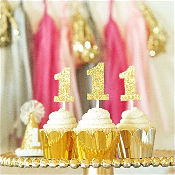 Birthday Age Number Cupcake Decorating Kit Silver Or Gold Set Of