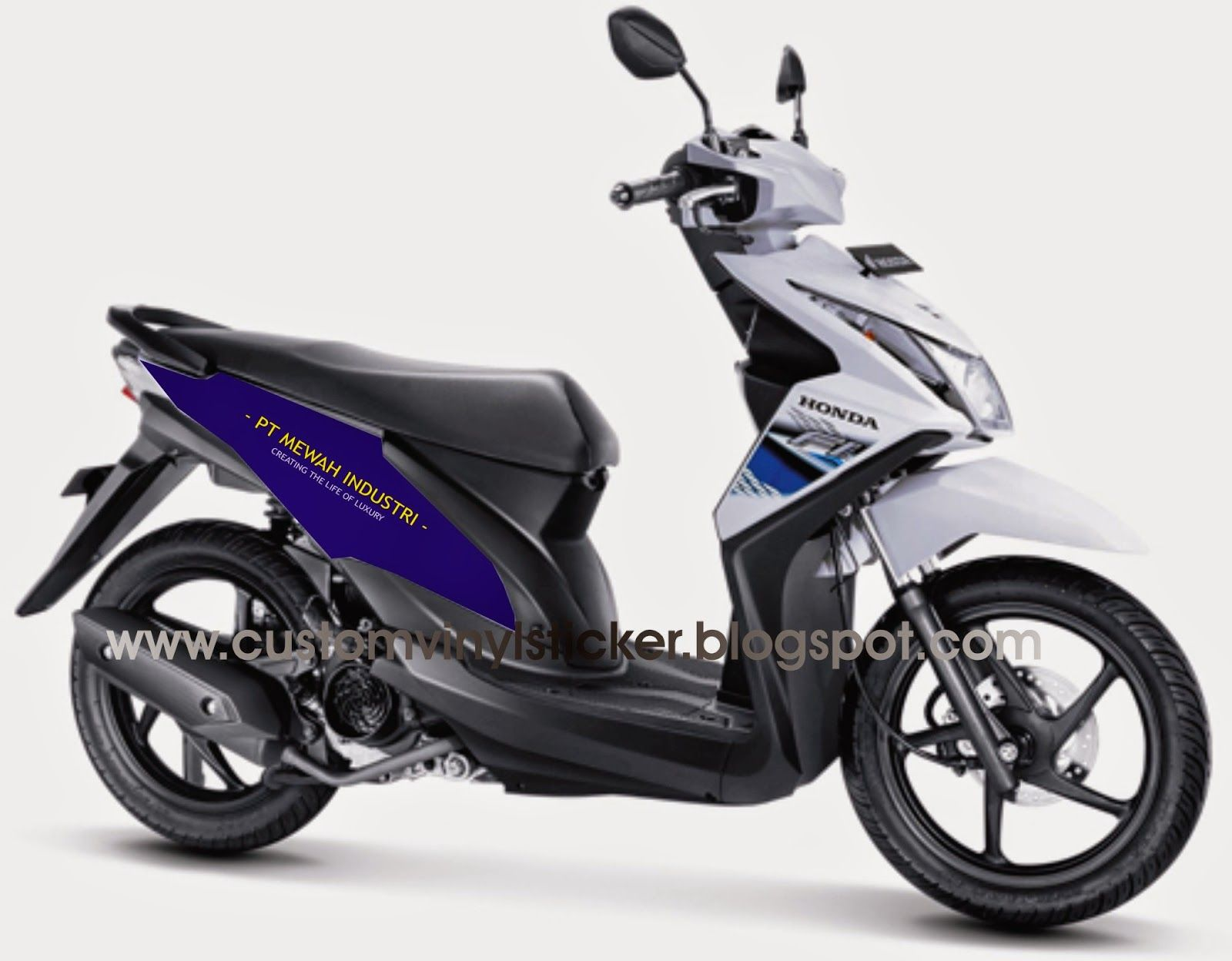 Honda Beat White Half Blue Wrapping Branding Concept Cutting Sonic 150r Racing Red Jakarta