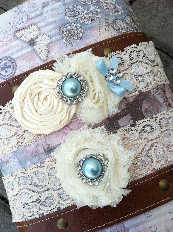 Ivory / white wedding garter / bridal  garter/  lace garter / toss garter / Something BLue wedding garter / vintage inspired lace garter. $28.99, via Etsy.