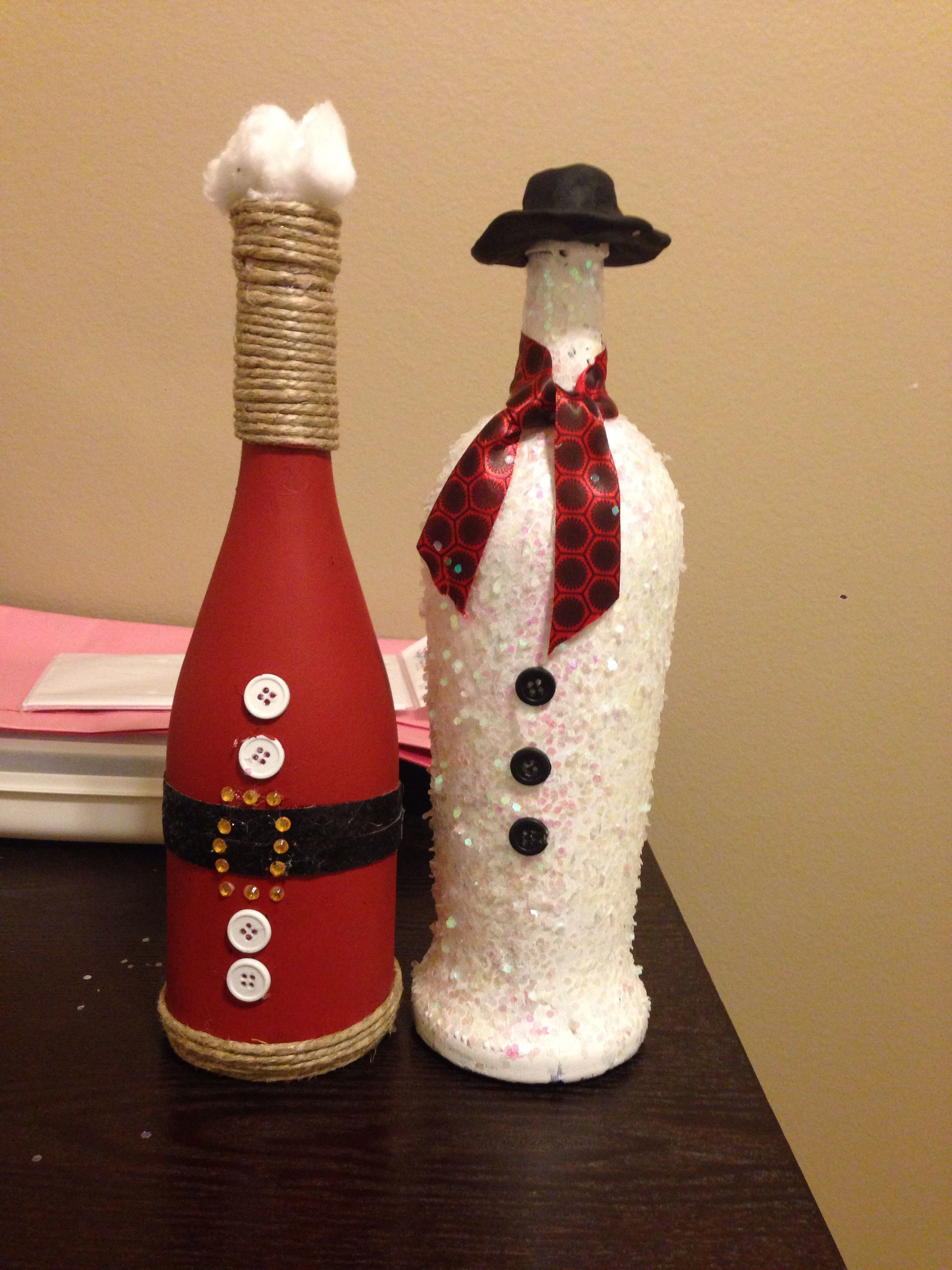 Santa Snow Man Wine Bottle Craft Garrafas Decoradas Garrafas Pintadas Garrafas
