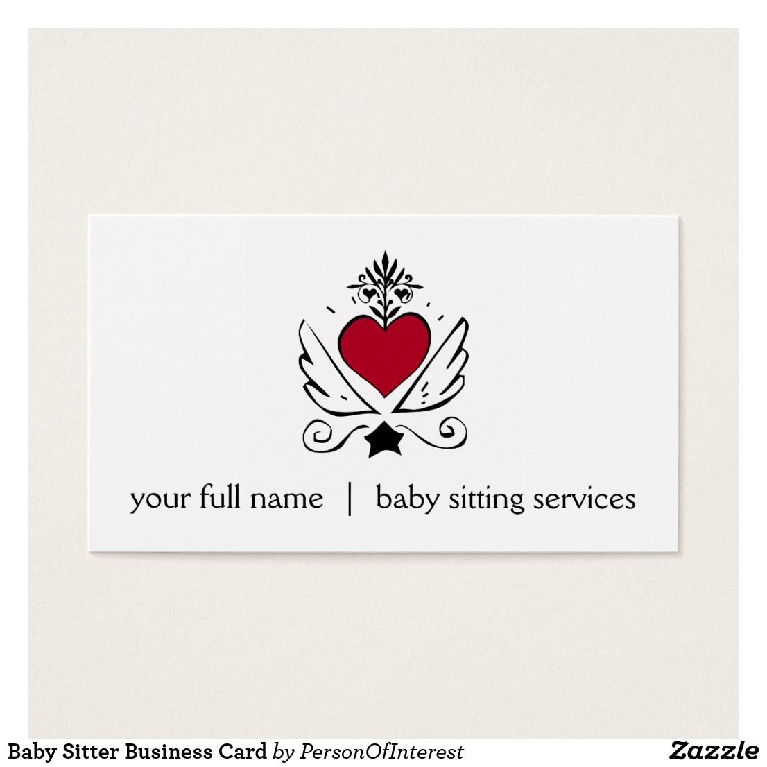 Baby sitter business card with red heart with wings cute